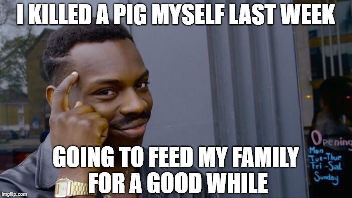 Roll Safe Think About It Meme | I KILLED A PIG MYSELF LAST WEEK GOING TO FEED MY FAMILY FOR A GOOD WHILE | image tagged in memes,roll safe think about it | made w/ Imgflip meme maker