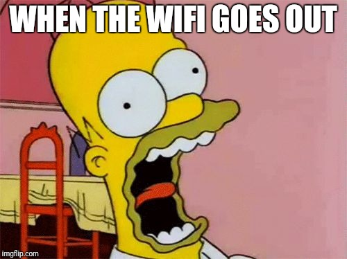 Homer Screaming | WHEN THE WIFI GOES OUT | image tagged in homer screaming | made w/ Imgflip meme maker