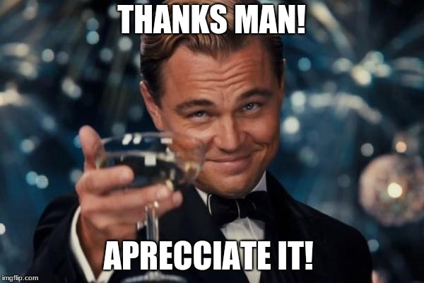 Leonardo Dicaprio Cheers Meme | THANKS MAN! APRECCIATE IT! | image tagged in memes,leonardo dicaprio cheers | made w/ Imgflip meme maker