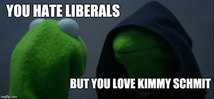 Evil Kermit Meme | YOU HATE LIBERALS BUT YOU LOVE KIMMY SCHMIT | image tagged in memes,evil kermit | made w/ Imgflip meme maker