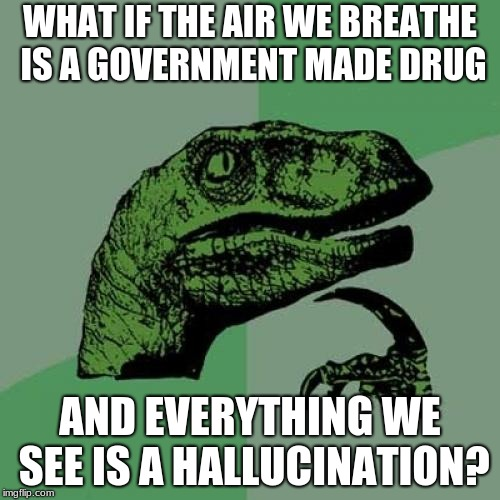 Philosoraptor Meme | WHAT IF THE AIR WE BREATHE IS A GOVERNMENT MADE DRUG AND EVERYTHING WE SEE IS A HALLUCINATION? | image tagged in memes,philosoraptor | made w/ Imgflip meme maker
