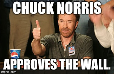 Chuck Norris Approves | CHUCK NORRIS APPROVES THE WALL. | image tagged in memes,chuck norris approves,chuck norris | made w/ Imgflip meme maker
