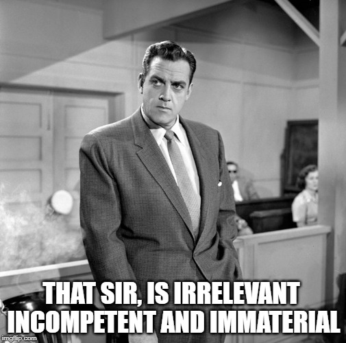 THAT SIR, IS IRRELEVANT INCOMPETENT AND IMMATERIAL | image tagged in perry mason,incompetence,lawyers,common sense,your argument is invalid,classic | made w/ Imgflip meme maker