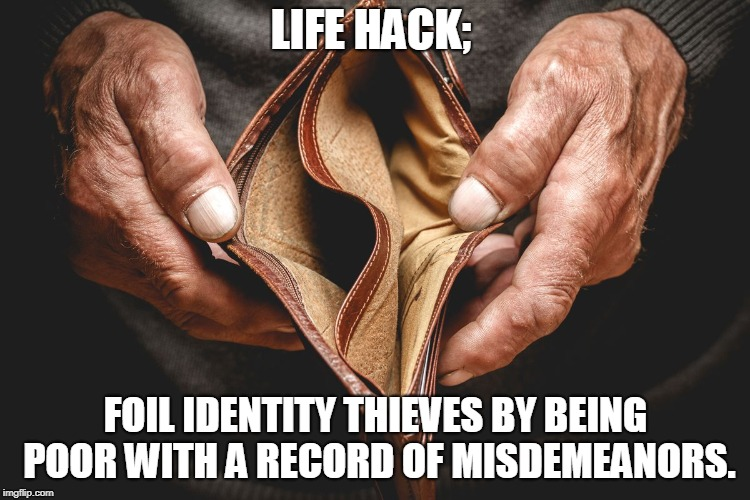 Life Hack | LIFE HACK; FOIL IDENTITY THIEVES BY BEING POOR WITH A RECORD OF MISDEMEANORS. | image tagged in life hack | made w/ Imgflip meme maker