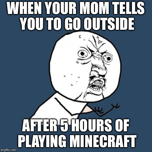 Y U No Meme | WHEN YOUR MOM TELLS YOU TO GO OUTSIDE AFTER 5 HOURS OF PLAYING MINECRAFT | image tagged in memes,y u no | made w/ Imgflip meme maker