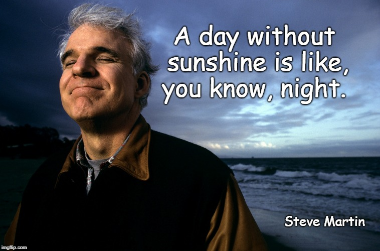 A day without sunshine is like, you know, night. Steve Martin | image tagged in steve martin,sunshine,sunshine quote,a day without,steve martin quote | made w/ Imgflip meme maker