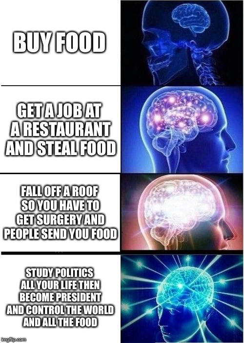 Expanding Brain Meme | BUY FOOD GET A JOB AT A RESTAURANT AND STEAL FOOD FALL OFF A ROOF SO YOU HAVE TO GET SURGERY AND PEOPLE SEND YOU FOOD STUDY POLITICS ALL YOU | image tagged in memes,expanding brain | made w/ Imgflip meme maker