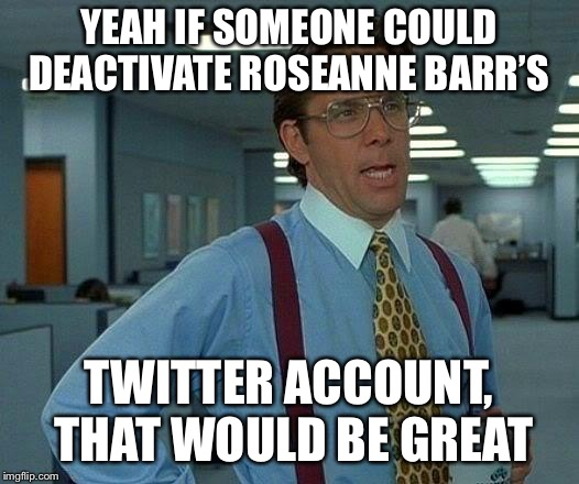That Would Be Great Meme | YEAH IF SOMEONE COULD DEACTIVATE ROSEANNE BARR'S TWITTER ACCOUNT, THAT WOULD BE GREAT | image tagged in memes,that would be great | made w/ Imgflip meme maker