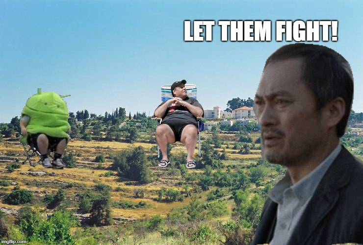 Let Them Fight! | LET THEM FIGHT! | image tagged in sonny chiba,godzilla meme,fat famous guys in folding shairs | made w/ Imgflip meme maker