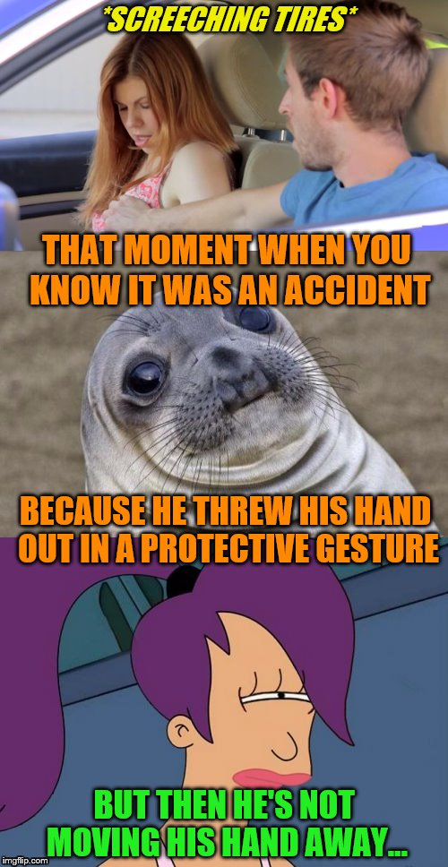 And that's how he became One-Hand Jim. | *SCREECHING TIRES* BECAUSE HE THREW HIS HAND OUT IN A PROTECTIVE GESTURE THAT MOMENT WHEN YOU KNOW IT WAS AN ACCIDENT BUT THEN HE'S NOT MOVI | image tagged in memes,awkward moment sealion,suspicious,futurama leela | made w/ Imgflip meme maker