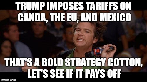 Bold Move Cotton | TRUMP IMPOSES TARIFFS ON CANDA, THE EU, AND MEXICO THAT'S A BOLD STRATEGY COTTON, LET'S SEE IF IT PAYS OFF | image tagged in bold move cotton | made w/ Imgflip meme maker