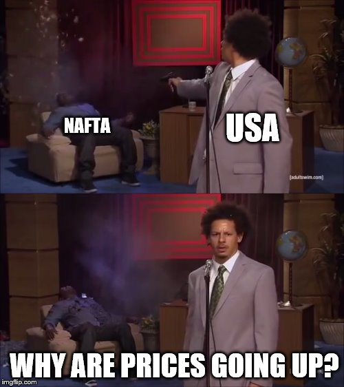 Who Killed Hannibal Meme | NAFTA WHY ARE PRICES GOING UP? USA | image tagged in why would they do this | made w/ Imgflip meme maker