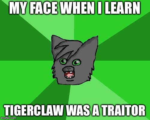 Warrior cats meme | MY FACE WHEN I LEARN TIGERCLAW WAS A TRAITOR | image tagged in warrior cats meme | made w/ Imgflip meme maker