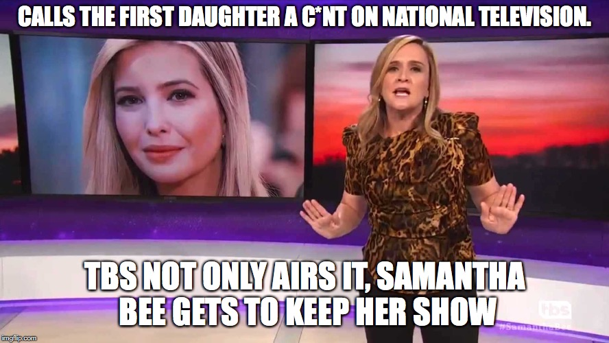 CALLS THE FIRST DAUGHTER A C*NT ON NATIONAL TELEVISION. TBS NOT ONLY AIRS IT, SAMANTHA BEE GETS TO KEEP HER SHOW | image tagged in samantha bee,trump,television,hipocrisy | made w/ Imgflip meme maker