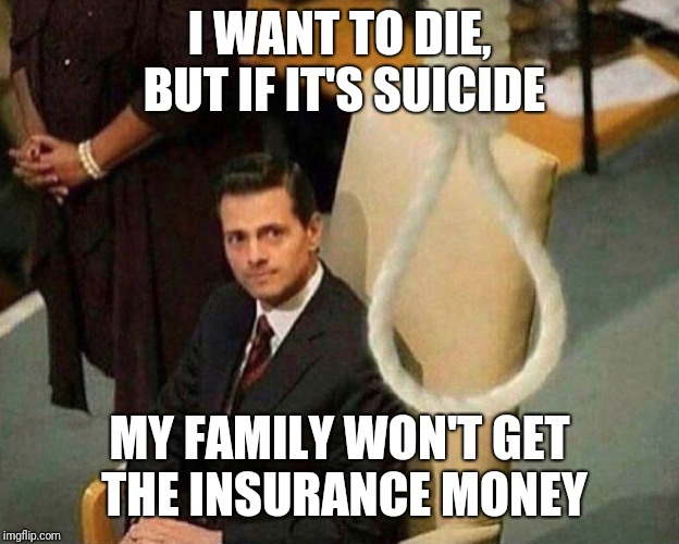 About the only thing stopping me | I WANT TO DIE, BUT IF IT'S SUICIDE MY FAMILY WON'T GET THE INSURANCE MONEY | image tagged in noose,memes | made w/ Imgflip meme maker
