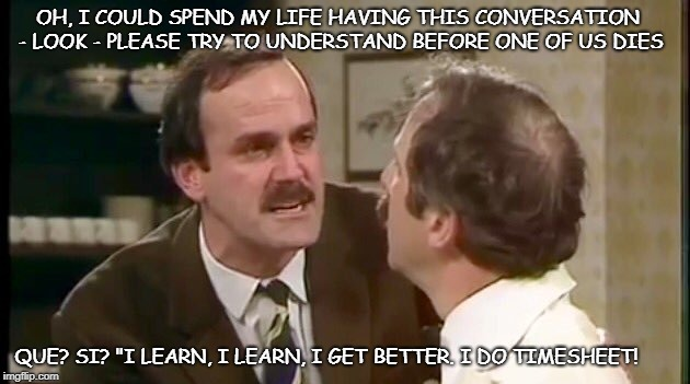 fawlty towers timesheet reminder