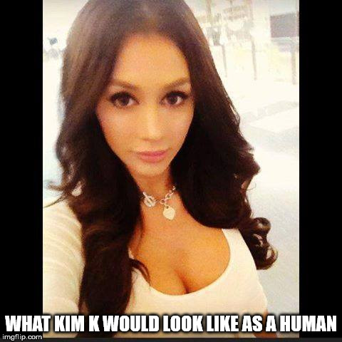 Human Kim  | WHAT KIM K WOULD LOOK LIKE AS A HUMAN | image tagged in kim kardashian | made w/ Imgflip meme maker