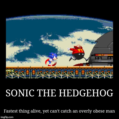 SONIC THE HEDGEHOG | Fastest thing alive, yet can't catch an overly obese man | image tagged in funny,demotivationals | made w/ Imgflip demotivational maker