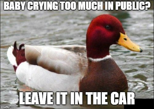 Malicious Advice Mallard Meme | BABY CRYING TOO MUCH IN PUBLIC? LEAVE IT IN THE CAR | image tagged in memes,malicious advice mallard | made w/ Imgflip meme maker