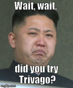 Kim Jong Unhappy | Wait, wait, did you try Trivago? | image tagged in kim jong unhappy | made w/ Imgflip meme maker