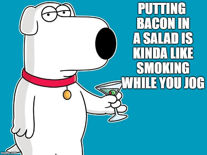 bacon in a salad | PUTTING BACON IN A SALAD IS KINDA LIKE SMOKING WHILE YOU JOG | image tagged in dog,bacon,salad | made w/ Imgflip meme maker