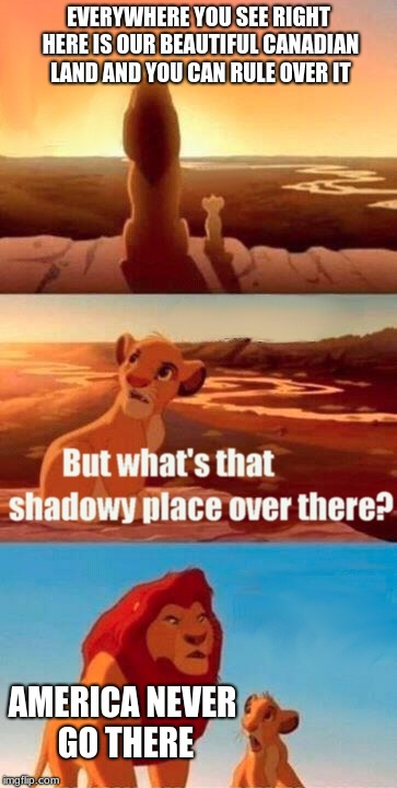 America, never go there (jk I love my fellow Americans) | EVERYWHERE YOU SEE RIGHT HERE IS OUR BEAUTIFUL CANADIAN LAND AND YOU CAN RULE OVER IT AMERICA NEVER GO THERE | image tagged in memes,simba shadowy place,funny,funny memes,new memes | made w/ Imgflip meme maker