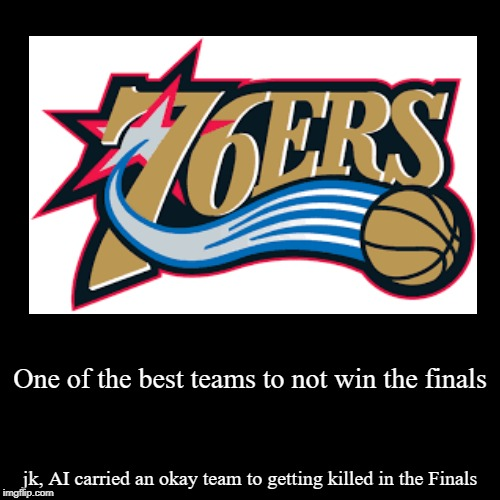 One of the best teams to not win the finals | jk, AI carried an okay team to getting killed in the Finals | image tagged in funny,demotivationals | made w/ Imgflip demotivational maker