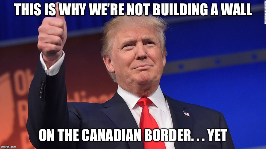 Trump Thumbs Up | THIS IS WHY WE'RE NOT BUILDING A WALL ON THE CANADIAN BORDER. . . YET | image tagged in trump thumbs up | made w/ Imgflip meme maker