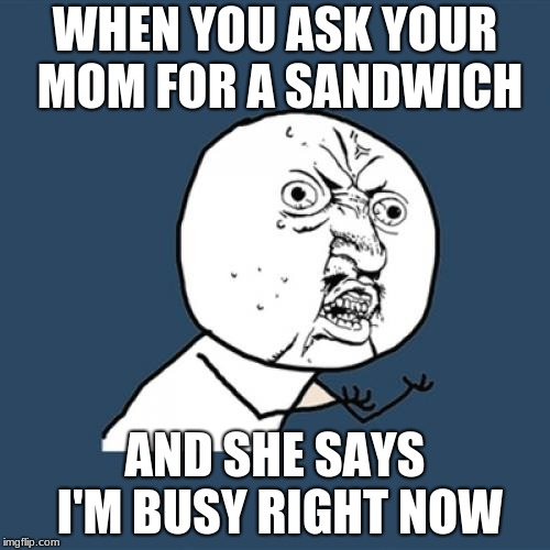 Y U No Meme | WHEN YOU ASK YOUR MOM FOR A SANDWICH AND SHE SAYS I'M BUSY RIGHT NOW | image tagged in memes,y u no | made w/ Imgflip meme maker