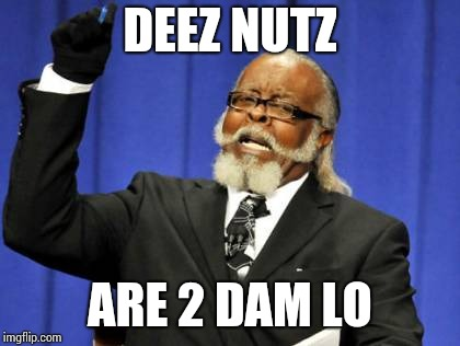 Too Damn High Meme | DEEZ NUTZ ARE 2 DAM LO | image tagged in memes,too damn high | made w/ Imgflip meme maker