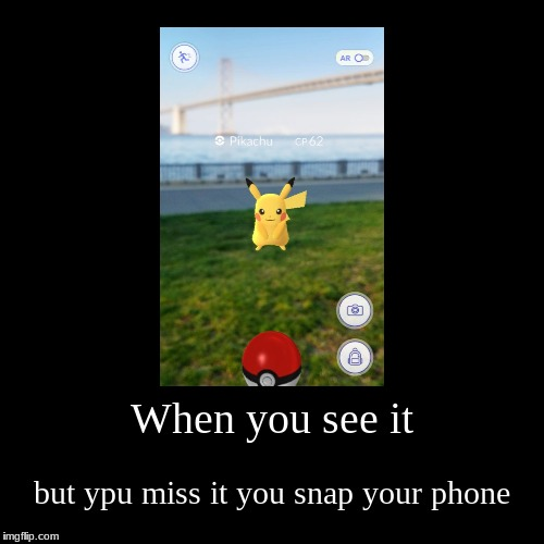 When you see it | but ypu miss it you snap your phone | image tagged in funny,demotivationals | made w/ Imgflip demotivational maker