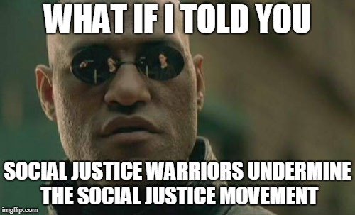 Matrix Morpheus Meme | WHAT IF I TOLD YOU SOCIAL JUSTICE WARRIORS UNDERMINE THE SOCIAL JUSTICE MOVEMENT | image tagged in memes,matrix morpheus | made w/ Imgflip meme maker