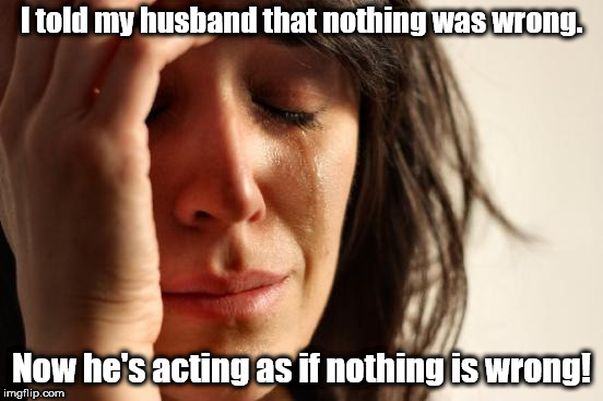 Since when do words have subjective meanings? | I told my husband that nothing was wrong. Now he's acting as if nothing is wrong! | image tagged in memes,first world problems | made w/ Imgflip meme maker