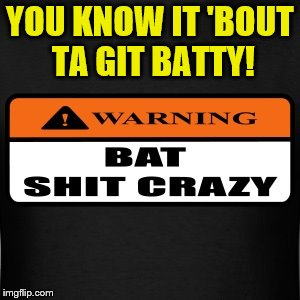 It's Batty Time!  Bat Shit Crazy Dat Is!!! | YOU KNOW IT 'BOUT TA GIT BATTY! | image tagged in batty,memes,bat shit crazy,liberal lunacy,crazy liberals,liberal loons | made w/ Imgflip meme maker