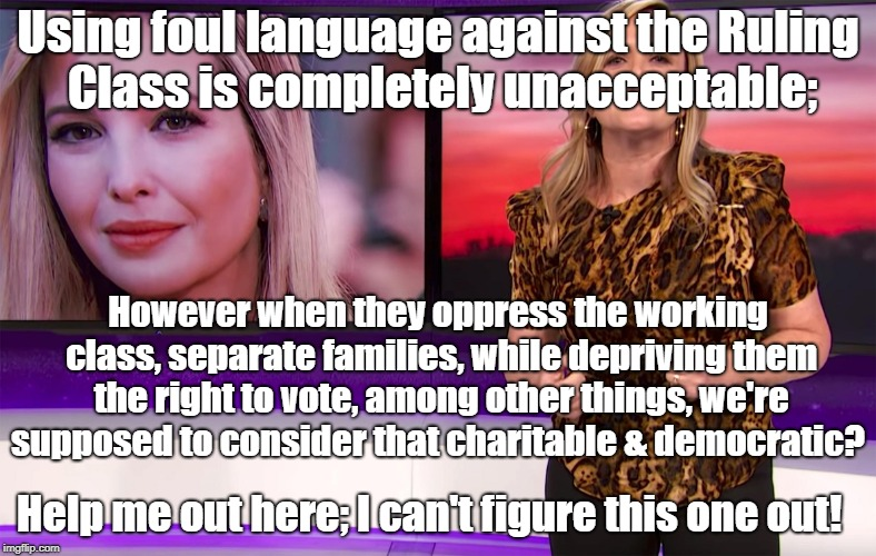 Using foul language against the Ruling Class is completely unacceptable; However when they oppress the working class, separate families, whi | image tagged in samantha bee-oytch | made w/ Imgflip meme maker
