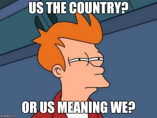 Futurama Fry Meme | US THE COUNTRY? OR US MEANING WE? | image tagged in memes,futurama fry | made w/ Imgflip meme maker