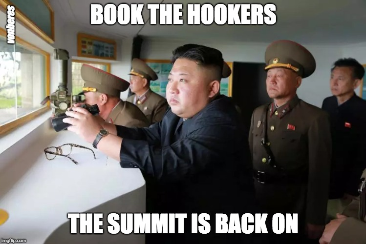 BOOK THE HOOKERS THE SUMMIT IS BACK ON vonberes | image tagged in north korea,trump,kim jong un,kim jong un - spying,donald trump | made w/ Imgflip meme maker