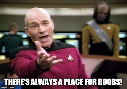 Picard Wtf Meme | THERE'S ALWAYS A PLACE FOR BOOBS! | image tagged in memes,picard wtf | made w/ Imgflip meme maker