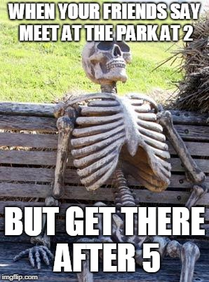 Waiting Skeleton Meme | WHEN YOUR FRIENDS SAY MEET AT THE PARK AT 2 BUT GET THERE AFTER 5 | image tagged in memes,waiting skeleton | made w/ Imgflip meme maker