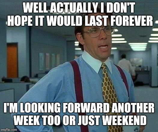 That Would Be Great Meme | WELL ACTUALLY I DON'T HOPE IT WOULD LAST FOREVER I'M LOOKING FORWARD ANOTHER WEEK TOO OR JUST WEEKEND | image tagged in memes,that would be great | made w/ Imgflip meme maker