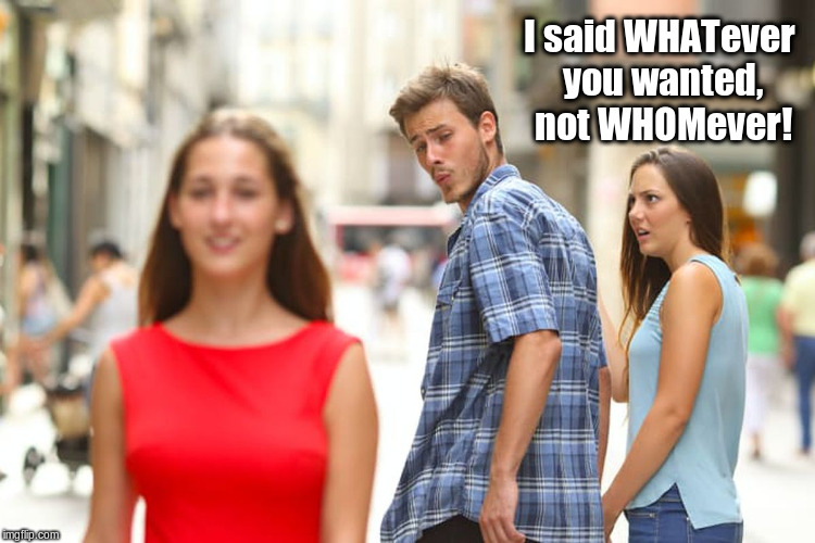 Distracted Boyfriend Meme | I said WHATever you wanted, not WHOMever! | image tagged in memes,distracted boyfriend | made w/ Imgflip meme maker