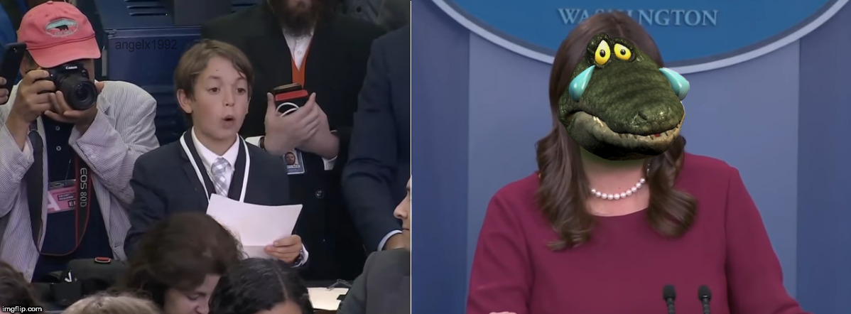 image tagged in sarah huckabee sanders,sarah sanders,crocodile,tears,press secretary,white house | made w/ Imgflip meme maker