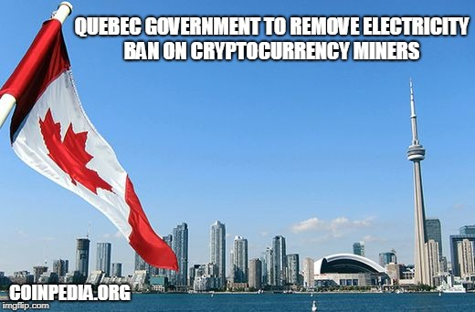 Quebec Government to Remove Electricity Ban on Cryptocurrency Miners  | QUEBEC GOVERNMENT TO REMOVE ELECTRICITY BAN ON CRYPTOCURRENCY MINERS COINPEDIA.ORG | image tagged in cryptocurrency,quebec,cryptocurrency miners | made w/ Imgflip meme maker