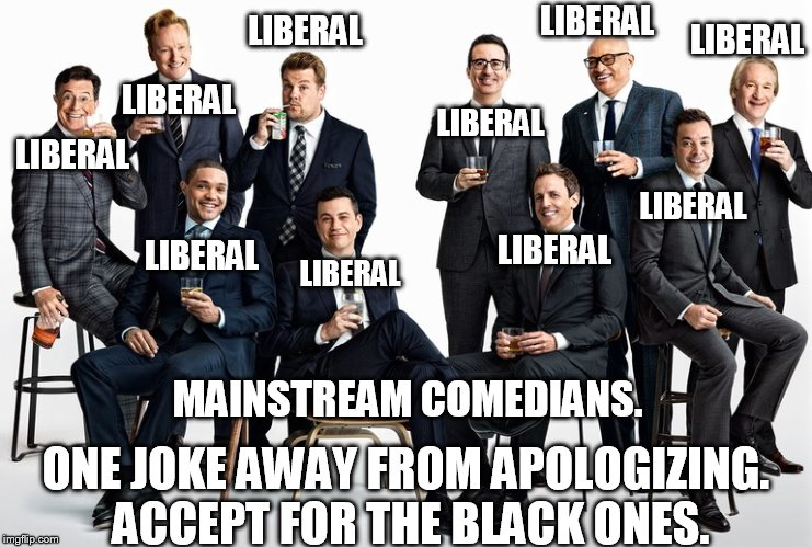 political comedy. | LIBERAL LIBERAL LIBERAL LIBERAL LIBERAL LIBERAL LIBERAL LIBERAL LIBERAL LIBERAL ONE JOKE AWAY FROM APOLOGIZING. ACCEPT FOR THE BLACK ONES. M | image tagged in funny,comedy,liberals | made w/ Imgflip meme maker