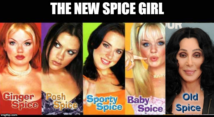 OLD SPICE | THE NEW SPICE GIRL | image tagged in cher,spice girls,old spice | made w/ Imgflip meme maker