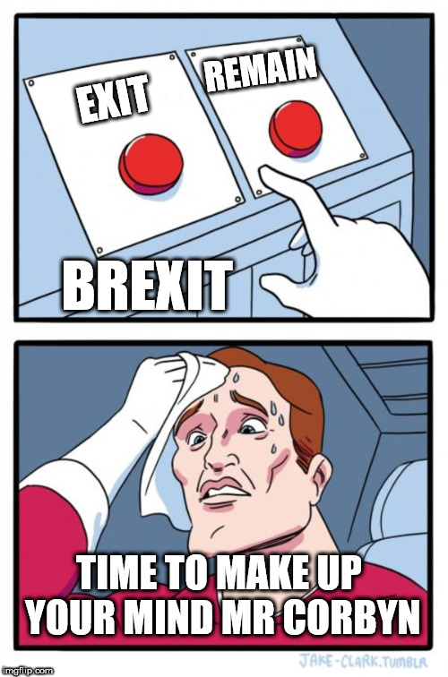 Brexit - make up your mind Mr Corbyn | EXIT REMAIN TIME TO MAKE UP YOUR MIND MR CORBYN BREXIT | image tagged in memes,two buttons,corbyn eww,party of hate,communist socialist,funny | made w/ Imgflip meme maker