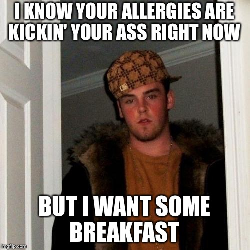 Scumbag Steve Meme | I KNOW YOUR ALLERGIES ARE KICKIN' YOUR ASS RIGHT NOW BUT I WANT SOME BREAKFAST | image tagged in memes,scumbag steve | made w/ Imgflip meme maker