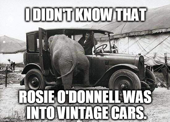I DIDN'T KNOW THAT ROSIE O'DONNELL WAS INTO VINTAGE CARS. | image tagged in rosie o'donnell,vintage cars,elephant | made w/ Imgflip meme maker