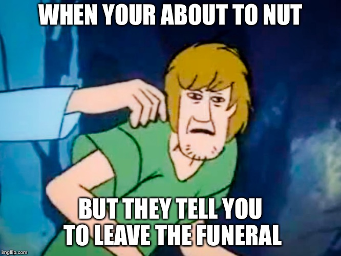 Shaggy meme | WHEN YOUR ABOUT TO NUT BUT THEY TELL YOU TO LEAVE THE FUNERAL | image tagged in shaggy meme | made w/ Imgflip meme maker
