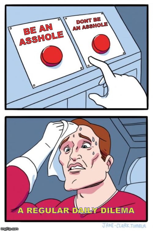 To be or not to be (an asshole) | BE AN ASSHOLE DONT BE AN ASSHOLE A REGULAR DAILY DILEMA | image tagged in memes,two buttons,asshole,decisions,funny memes | made w/ Imgflip meme maker